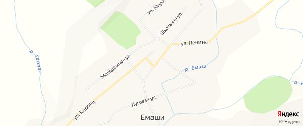 Карта села Емашей в Башкортостане с улицами и номерами домов