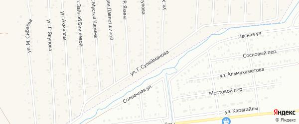 Улица Г.Сулейманова на карте села Старого Сибая с номерами домов