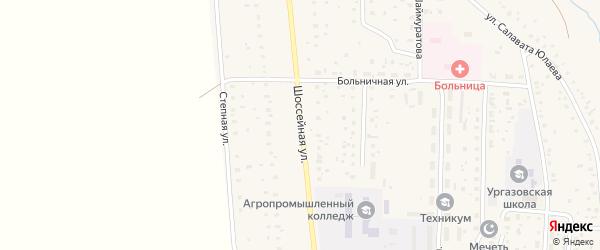 Шоссейная улица на карте села Ургазы с номерами домов