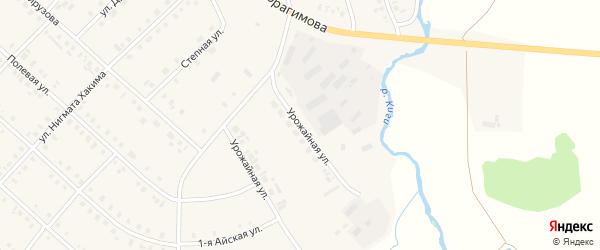 Урожайная улица на карте села Верхние Киги с номерами домов