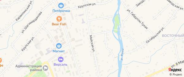 Майская улица на карте села Верхние Киги с номерами домов