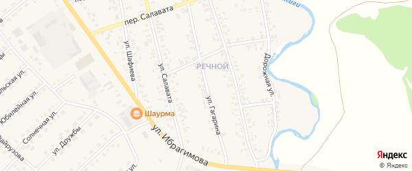 Улица Гагарина на карте села Верхние Киги с номерами домов