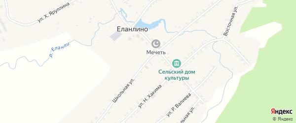 Школьная улица на карте села Еланлино с номерами домов