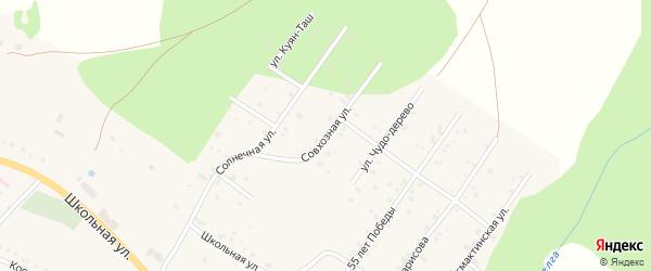 Совхозная улица на карте села Абзаково с номерами домов
