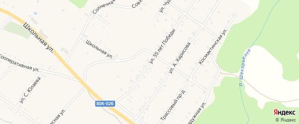 Улица 55 лет Победы на карте села Абзаково с номерами домов