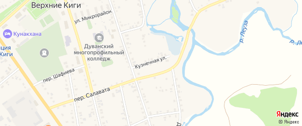 Кузнечная улица на карте села Верхние Киги с номерами домов