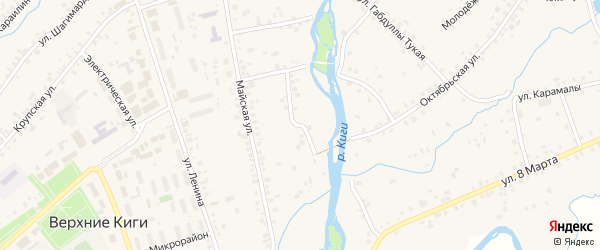 Кигинская улица на карте села Верхние Киги с номерами домов
