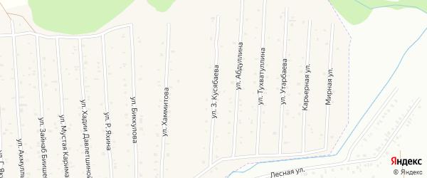 Улица З.Кусябаева на карте села Старого Сибая с номерами домов