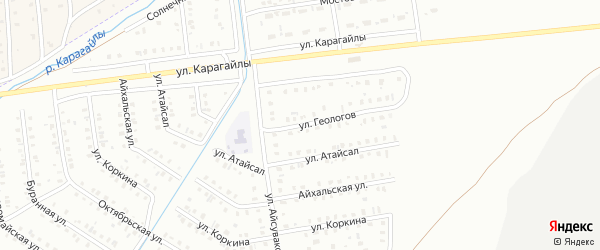 Улица Геологов на карте Сибая с номерами домов