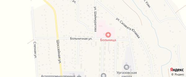 Больничная улица на карте села Ургазы с номерами домов