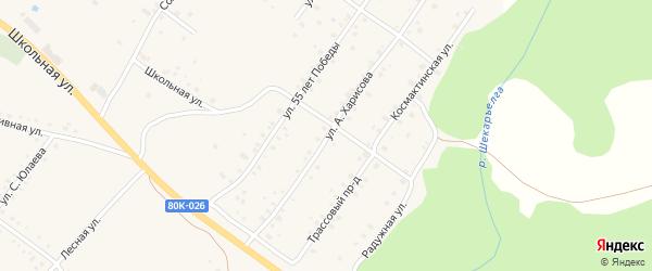 Улица А.Харисова на карте села Абзаково с номерами домов