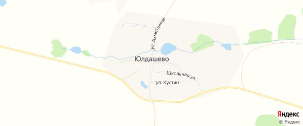Карта деревни Юлдашево в Башкортостане с улицами и номерами домов