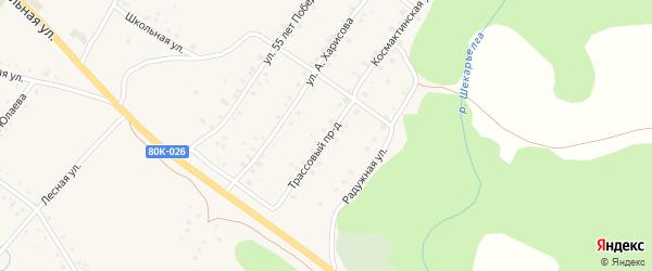 Трассовый проезд на карте села Абзаково с номерами домов
