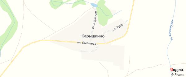 Карта деревни Карышкино в Башкортостане с улицами и номерами домов