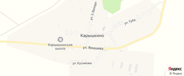 Улица Кусимова на карте деревни Карышкино с номерами домов