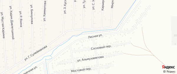 Лесная улица на карте Сибая с номерами домов