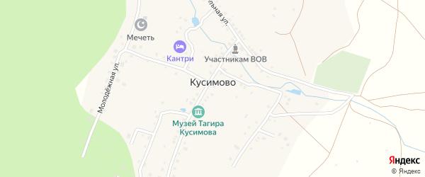 Цветочная улица на карте деревни Кусимово с номерами домов