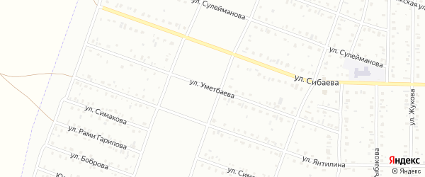 Улица Уметбаева на карте Сибая с номерами домов