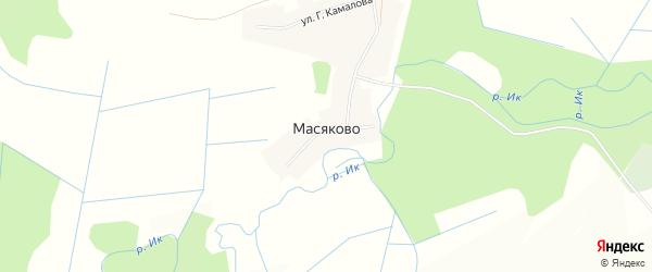 Карта деревни Масяково в Башкортостане с улицами и номерами домов