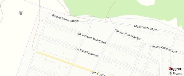 Улица Батыра Валидова на карте Сибая с номерами домов