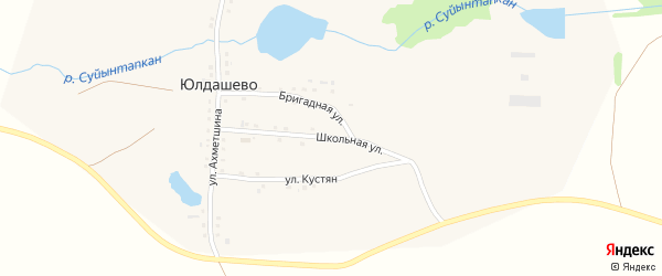 Школьная улица на карте деревни Юлдашево с номерами домов