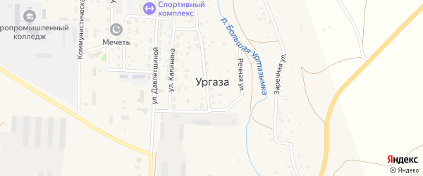 Заречная улица на карте села Ургазы с номерами домов