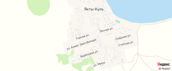Горная улица на карте деревни Якты-Куль с номерами домов