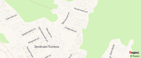 Озерная улица на карте деревни Зеленая Поляна с номерами домов