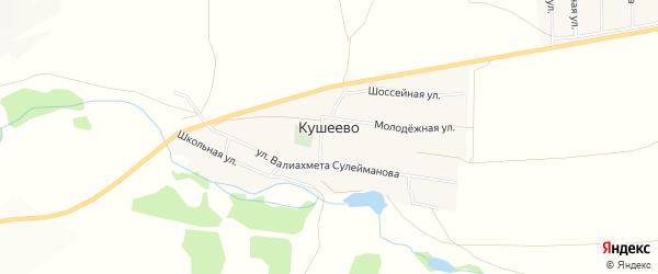 Карта деревни Кушеево в Башкортостане с улицами и номерами домов