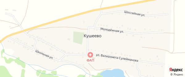 Шоссейная улица на карте деревни Кушеево с номерами домов