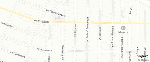 Улица Жукова на карте Сибая с номерами домов