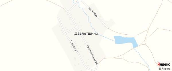 Центральная улица на карте деревни Давлетшино с номерами домов