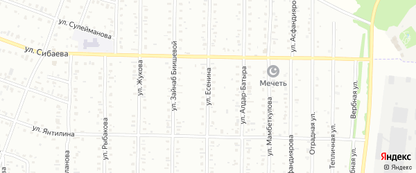 Улица Есенина на карте Сибая с номерами домов
