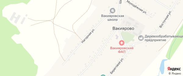 Нагорная улица на карте деревни Вакиярово с номерами домов