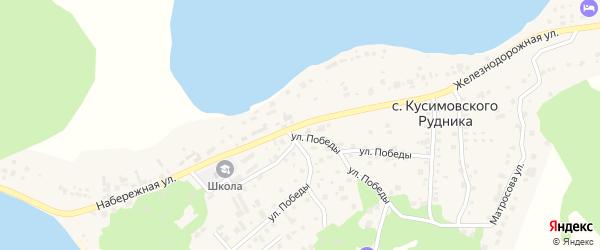 Набережная улица на карте села Кусимовского рудника с номерами домов