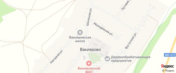 Школьная улица на карте деревни Вакиярово с номерами домов