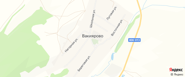 Карта деревни Вакиярово в Башкортостане с улицами и номерами домов