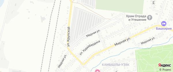 Медная улица на карте Сибая с номерами домов