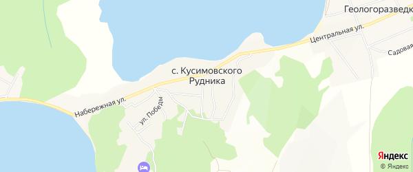 Карта села Кусимовского рудника в Башкортостане с улицами и номерами домов