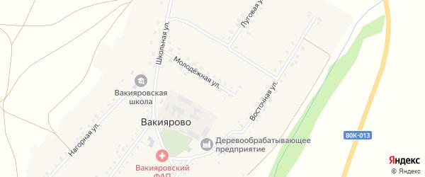 Молодежная улица на карте деревни Вакиярово с номерами домов