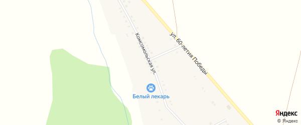 Комсомольская улица на карте деревни Елимбетово с номерами домов