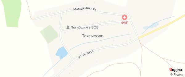 Улица Телянче на карте деревни Таксырово с номерами домов
