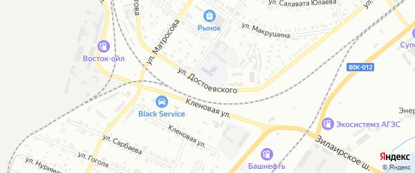 Улица Достоевского на карте Сибая с номерами домов