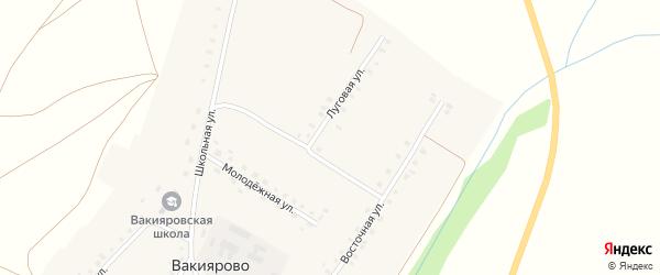 Луговая улица на карте деревни Вакиярово с номерами домов