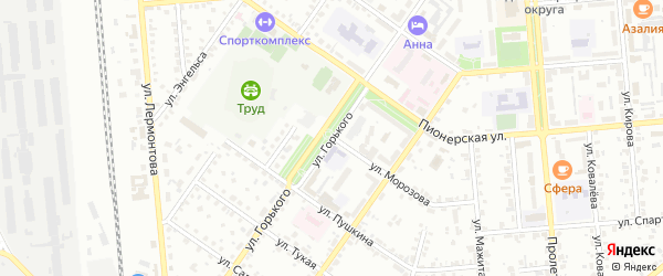 Улица Горького на карте Сибая с номерами домов