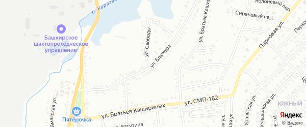 Улица Блюхера на карте Сибая с номерами домов