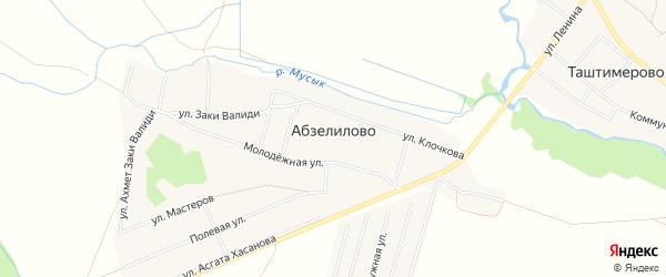 Карта деревни Абзелилово в Башкортостане с улицами и номерами домов