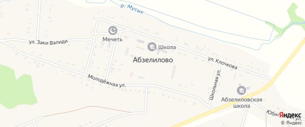 Шоссейная улица на карте деревни Абзелилово с номерами домов