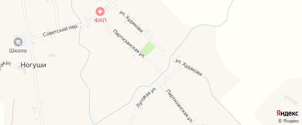 Партизанская улица на карте села Ногуши с номерами домов