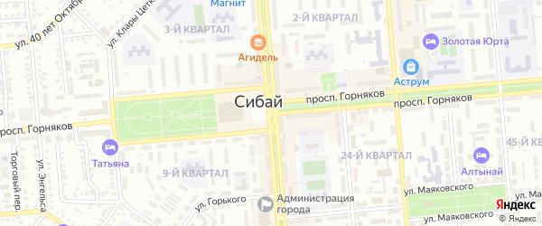 Проспект Горняков на карте Сибая с номерами домов